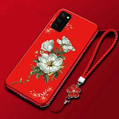 Huawei Honor V30 5G用シリコンケース ソフトタッチラバー 花 カバー ファーウェイ レッド