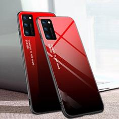 Huawei Honor V30 5G用ハイブリットバンパーケース プラスチック 鏡面 虹 グラデーション 勾配色 カバー ファーウェイ レッド