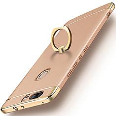 Huawei Honor V8用ケース 高級感 手触り良い メタル兼プラスチック バンパー アンド指輪 ファーウェイ ゴールド