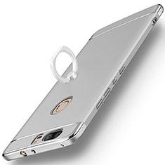 Huawei Honor V8用ケース 高級感 手触り良い メタル兼プラスチック バンパー アンド指輪 ファーウェイ シルバー
