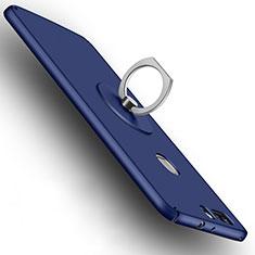Huawei Honor V8用ハードケース プラスチック 質感もマット アンド指輪 ファーウェイ ネイビー