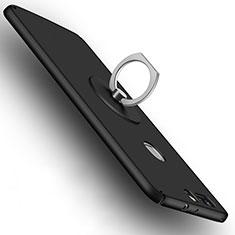 Huawei Honor V8用ハードケース プラスチック 質感もマット アンド指輪 ファーウェイ ブラック