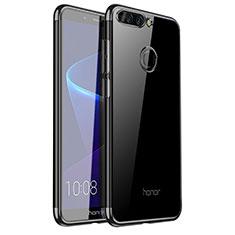 Huawei Honor V9用極薄ソフトケース シリコンケース 耐衝撃 全面保護 クリア透明 H01 ファーウェイ ブラック