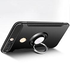 Huawei Honor V9用ハイブリットバンパーケース プラスチック アンド指輪 兼シリコーン ファーウェイ ブラック