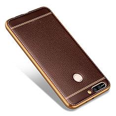 Huawei Honor V9用シリコンケース ソフトタッチラバー レザー柄 ファーウェイ ブラウン