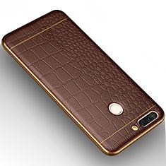 Huawei Honor V9用シリコンケース ソフトタッチラバー レザー柄 W01 ファーウェイ ブラウン