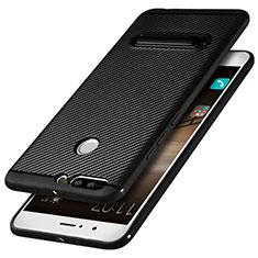 Huawei Honor V9用シリコンケース ソフトタッチラバー ツイル ともにホルダー ファーウェイ ブラック