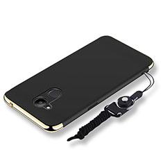 Huawei Honor V9 Play用ケース 高級感 手触り良い メタル兼プラスチック バンパー 亦 ひも ファーウェイ ブラック