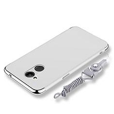 Huawei Honor V9 Play用ケース 高級感 手触り良い メタル兼プラスチック バンパー 亦 ひも ファーウェイ シルバー