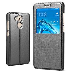 Huawei Honor V9 Play用手帳型 レザーケース スタンド ファーウェイ ブラック