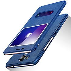 Huawei Honor V9 Play用手帳型 レザーケース スタンド L01 ファーウェイ ネイビー