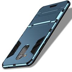 Huawei Honor V9 Play用ハイブリットバンパーケース スタンド プラスチック 兼シリコーン ファーウェイ ネイビー