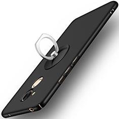 Huawei Honor V9 Play用ハードケース プラスチック 質感もマット アンド指輪 ファーウェイ ブラック