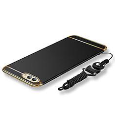 Huawei Honor View 10用ケース 高級感 手触り良い メタル兼プラスチック バンパー 亦 ひも ファーウェイ ブラック