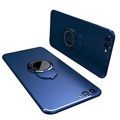 Huawei Honor View 10用極薄ソフトケース シリコンケース 耐衝撃 全面保護 アンド指輪 バンパー ファーウェイ ネイビー