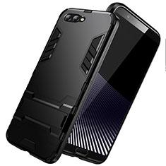 Huawei Honor View 10用ハイブリットバンパーケース スタンド プラスチック 兼シリコーン R01 ファーウェイ ブラック