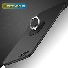 Huawei Honor View 10用ハードケース プラスチック 質感もマット アンド指輪 Q02 ファーウェイ ブラック