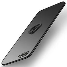 Huawei Honor View 10用ハードケース プラスチック 質感もマット アンド指輪 Q03 ファーウェイ ブラック