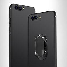 Huawei Honor View 10用極薄ソフトケース シリコンケース 耐衝撃 全面保護 アンド指輪 ファーウェイ ブラック