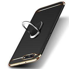 Huawei Honor View 10用ケース 高級感 手触り良い メタル兼プラスチック バンパー アンド指輪 ファーウェイ ブラック