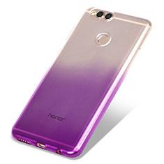 Huawei Honor View 10用極薄ソフトケース グラデーション 勾配色 クリア透明 ファーウェイ パープル