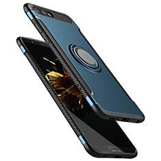 Huawei Honor View 10用ハイブリットバンパーケース プラスチック アンド指輪 兼シリコーン ファーウェイ ネイビー