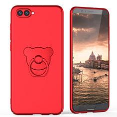 Huawei Honor View 10用ハードケース プラスチック 質感もマット アンド指輪 A04 ファーウェイ レッド