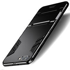 Huawei Honor View 10用ハイブリットバンパーケース スタンド プラスチック 兼シリコーン ファーウェイ ブラック