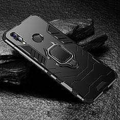 Huawei Honor View 10 Lite用ハイブリットバンパーケース スタンド プラスチック 兼シリコーン カバー ファーウェイ ブラック