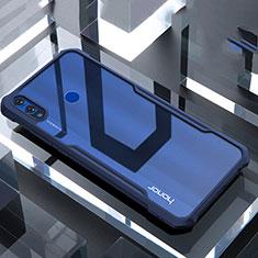 Huawei Honor View 10 Lite用ハイブリットバンパーケース クリア透明 プラスチック 鏡面 カバー ファーウェイ ネイビー