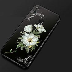 Huawei Honor View 10 Lite用シリコンケース ソフトタッチラバー 花 カバー ファーウェイ ブラック