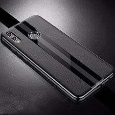 Huawei Honor View 10 Lite用シリコンケース ソフトタッチラバー レザー柄 S01 ファーウェイ ブラック