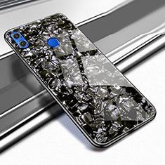 Huawei Honor View 10 Lite用ハイブリットバンパーケース クリア透明 プラスチック 鏡面 カバー M03 ファーウェイ ブラック