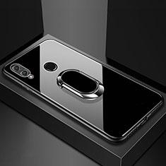 Huawei Honor View 10 Lite用ハイブリットバンパーケース プラスチック 鏡面 カバー アンド指輪 マグネット式 ファーウェイ ブラック