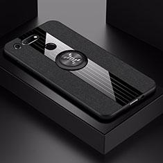 Huawei Honor View 20用極薄ソフトケース シリコンケース 耐衝撃 全面保護 アンド指輪 マグネット式 バンパー T02 ファーウェイ ブラック