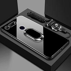 Huawei Honor View 20用ハイブリットバンパーケース プラスチック 鏡面 カバー アンド指輪 マグネット式 T01 ファーウェイ ブラック