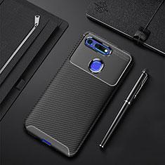 Huawei Honor View 20用シリコンケース ソフトタッチラバー ツイル カバー Y01 ファーウェイ ブラック