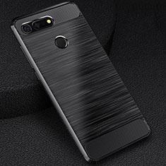 Huawei Honor View 20用シリコンケース ソフトタッチラバー ライン カバー C03 ファーウェイ ブラック