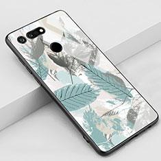 Huawei Honor View 20用ハイブリットバンパーケース プラスチック パターン 鏡面 カバー K05 ファーウェイ シアン