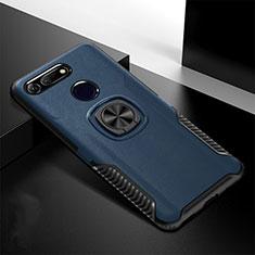 Huawei Honor View 20用ハイブリットバンパーケース スタンド プラスチック 兼シリコーン カバー マグネット式 H02 ファーウェイ ネイビー