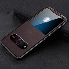 Huawei Honor View 20用手帳型 レザーケース スタンド カバー T14 ファーウェイ ブラウン