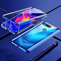 Huawei Honor View 20用ケース 高級感 手触り良い アルミメタル 製の金属製 360度 フルカバーバンパー 鏡面 カバー T01 ファーウェイ ネイビー
