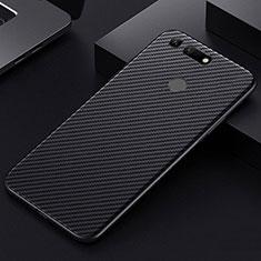 Huawei Honor View 20用炭素繊維ケース ソフトタッチラバー ツイル カバー T01 ファーウェイ ブラック