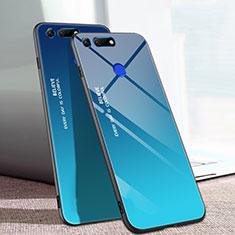 Huawei Honor View 20用ハイブリットバンパーケース プラスチック 鏡面 虹 グラデーション 勾配色 カバー H01 ファーウェイ ネイビー