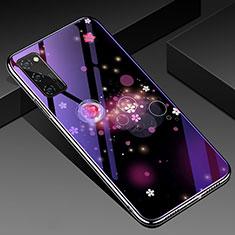 Huawei Honor View 30 5G用ハイブリットバンパーケース プラスチック パターン 鏡面 カバー ファーウェイ パープル