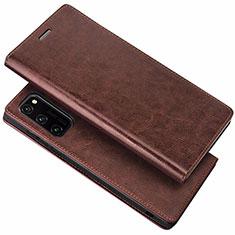 Huawei Honor View 30 5G用手帳型 レザーケース スタンド カバー ファーウェイ ブラウン