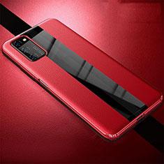 Huawei Honor View 30 5G用シリコンケース ソフトタッチラバー レザー柄 カバー ファーウェイ レッド