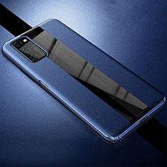 Huawei Honor View 30 5G用シリコンケース ソフトタッチラバー レザー柄 カバー ファーウェイ ネイビー