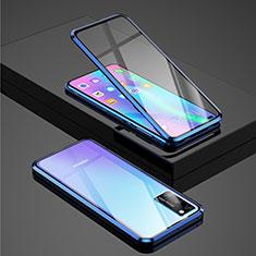 Huawei Honor View 30 5G用ケース 高級感 手触り良い アルミメタル 製の金属製 360度 フルカバーバンパー 鏡面 カバー ファーウェイ ネイビー