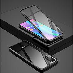 Huawei Honor View 30 5G用ケース 高級感 手触り良い アルミメタル 製の金属製 360度 フルカバーバンパー 鏡面 カバー ファーウェイ ブラック